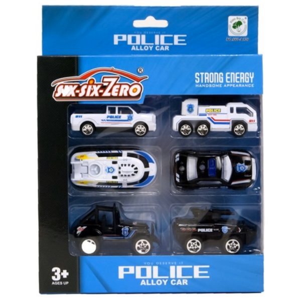 6 metal politi biler - Legetøj og Pakkekalender