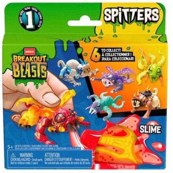 Mega Breakout Beasts Spitters spytter slim når de trykkes på maven - Samle 6 forskellige figurer, slim medfølger. 12 x 12 cm