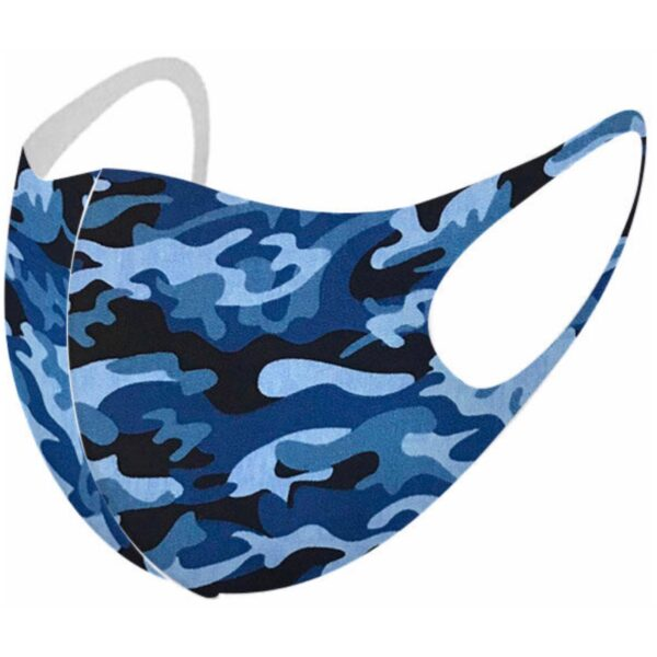 Vaskbar Maske I Blå Camouflage (voksen str L)