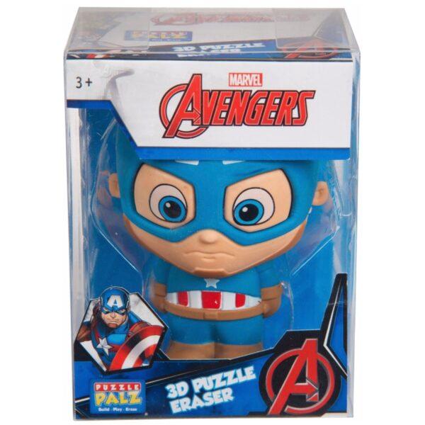 Captain Amarica XL 3D Puslespil/Viskelæder Figur