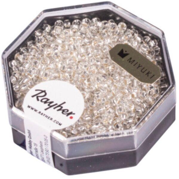 Premium Miyuki Perler m. Sølv indsats - Crystal