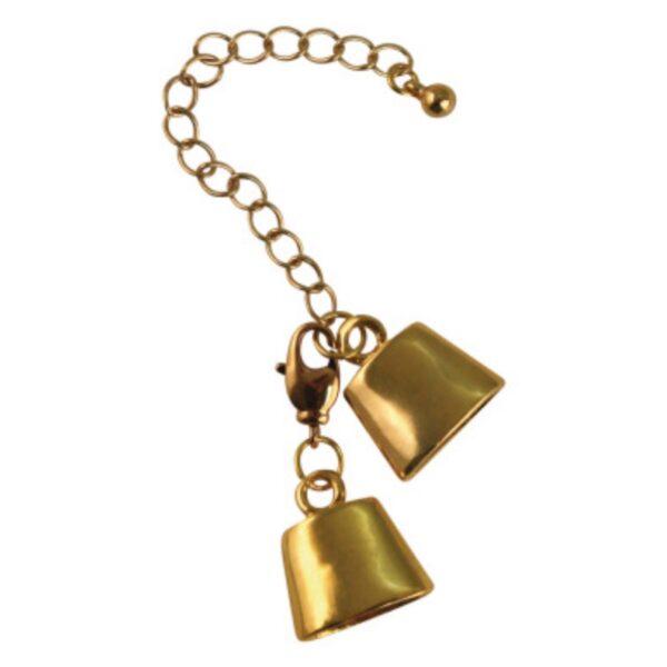 Fin låsemekanisme i guld til armbånd.