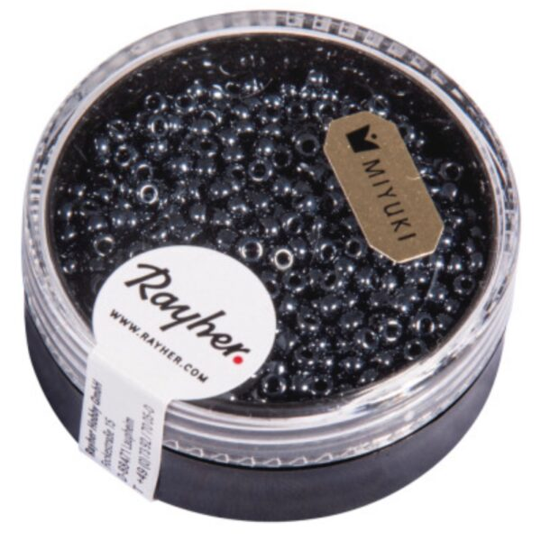 2 mm store seed beads / perler fra Reyher Farve: Bloodstone Box 17 g