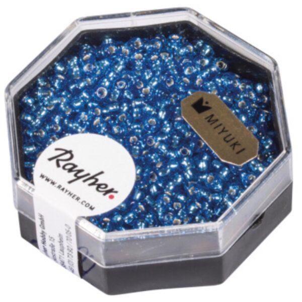 Premium Miyuki perler med sølv indsats fra Reyher Farve: Azure Blå Box 12 g