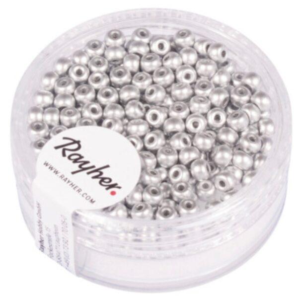 Rocailles Perler - Mat Sølv (3mm)