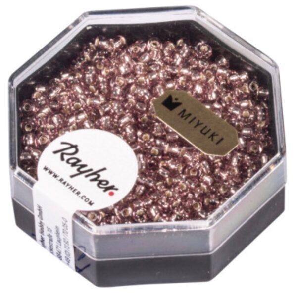 Premium Miyuki Perler m. Sølv indsats - Pink Chiffon (2.2mm)