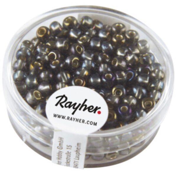 Rocailles Perler m. Sølv indsats - Purple (2mm)